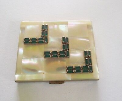 Vtg Elgin American Ladies Powder Compact Mother Of Pearl Green Beads