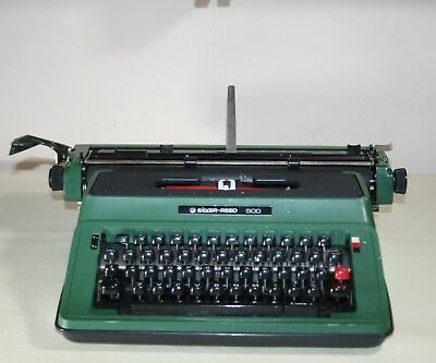 Green Coloured Portable Silver Reed 500 Typewriter Circa 1984 In ABS Case