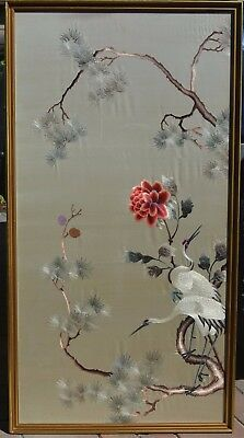 124 x 64cm Chinese Silk Embroidery Textile White Crane Pine Tree Red Flower
