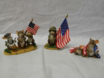 Lot of 3 Fitz and Floyd Charming Tails American Flag Figures