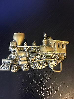 Shape of Steam Engine Belt Buckle Baron Solid Brass 1978 Taiwan Detailed