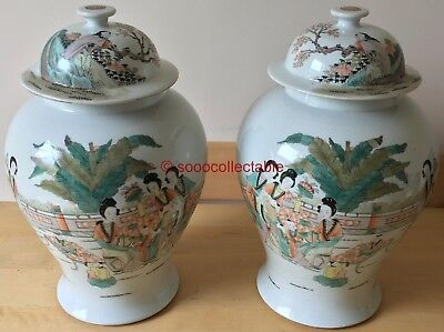 "signed MIRROR pair of antique handpainted CHINESE porcelain 14.25"" LIDDED JARS"