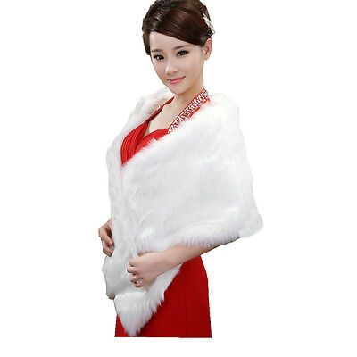 Women Faux Fur Wrap Cape Stole Bridal Ivory Wedding Dress Shawl Jacket