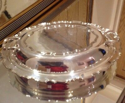 Vintage Silver Plated Lidded Entree Dish By Walker & Hall