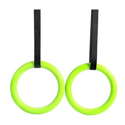 ABS Plastic Gymnastic Rings with belt buckles, high quality (green) V8P7 W8N5