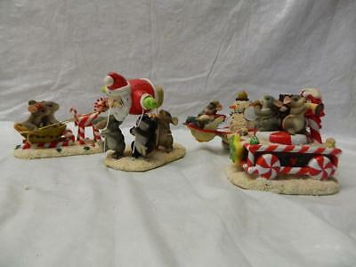 Lot of 4 Fitz and Floyd Charming Tails Christmas Figures