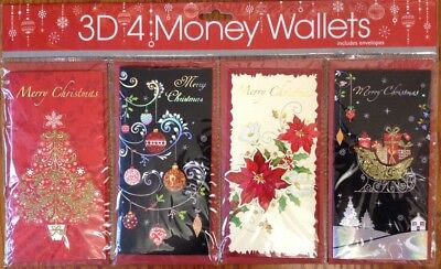 Pack Of 4 Christmas Money Wallets. Gift Voucher. Present. Traditional.