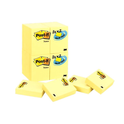 Sticky Notes Value Pack Canary Yellow Size 1.5 x 2 Inches 24 Pads per Pack Desk