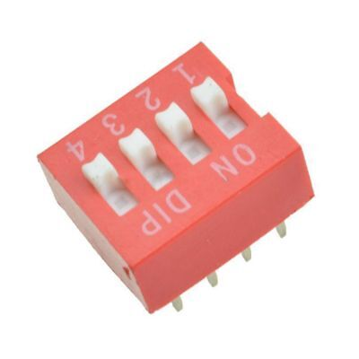 10Pcs Slide Type Switch Module 2.54mm 4-Bit 4 Position Way DIP Red Pitch N5Y3