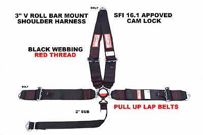 "Pro Street Racing Harness Black With Red Thread Stitch 3"" Cam Lock 5 Pt Pull Up"