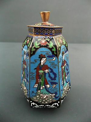 Cloisonne Jag Container Vase with Lid Chinese Girl Motif Blue Background