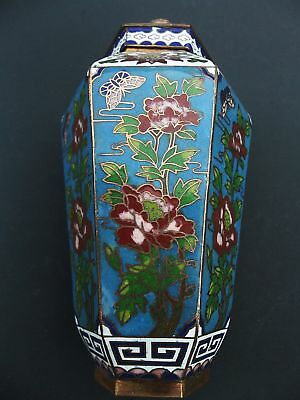 Cloisonne Jar Container Vase with Lid Chinese Flower Butterflies Blue Background