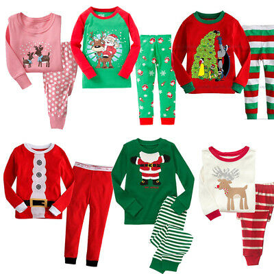 Christmas Pajamas Sets Kids boys Girs PJS Sets Xmas Sleepwear Nightwear 1-7Years