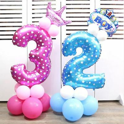 32 Inch Pink Blue Foil Digit Helium Ballon Birthday Party Decoration Air Baloons