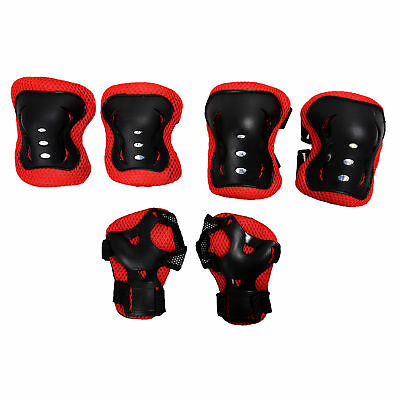 Kid Cycling Role Skating Knee Elbow Wrist Protector Pads - Black and Red R6P0