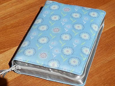 New World Translation 2013 Zipped Fabric Bible Cover - Light Teal Floral Print