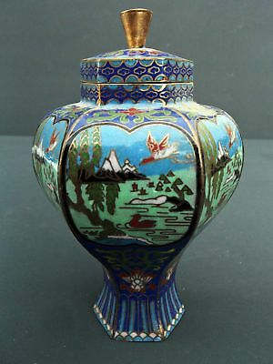 Cloisonne Jar Container Vase with Lid Chinese Scenic Motif Blue Background