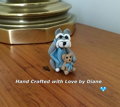 Miniature Hand Crafted Polymer Clay Schnauzer Baby with Blanket and Teddy Bear