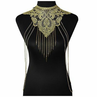 Lace + Metal collar Multi Layered Body Chain Necklaces Fashion Necklaces Se R8O8