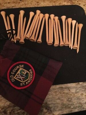 St Andrews Old Course Tartan Bag With Sew On Badge And 24 Wooden Golf Tee's