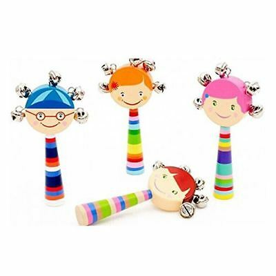 1pc Baby Kids Rainbow Wooden Handle Bell Jingle Stick Shaker Rattle Toys H5C3