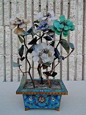 "Antique Late 19th century Chinese hard Stone Jade Tree Cloisonne 14.5"" Label"