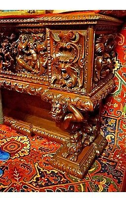 Antique 18th Century Renaissance Revival Heavily Carved Breakfront Furniture