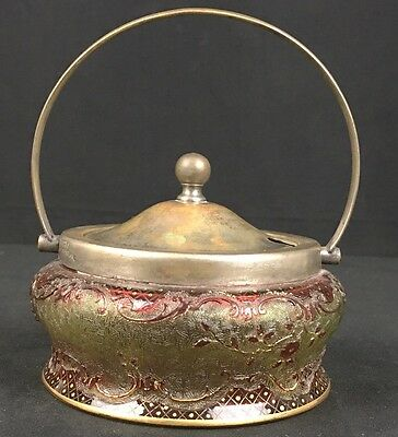 Fine Antique English Silver & Colorful Glass Basket with Silver Handle & Top