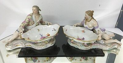 Gorgeous Antique Pair of Meissen Sweet Meat Bowls with Fine Detailed Figures