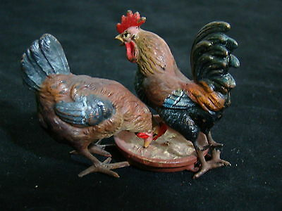 Gorgeous Pair of Antique Austrian Cold p Vienna Chickens Eating in A Bowl Fm2093