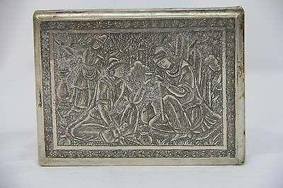 Heavily Decorated Antique Persian Sterling Silver Cigarette Case