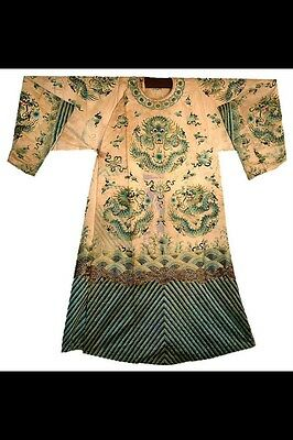 Majestic Antique Chinese Dragon Robe With Gold Thread