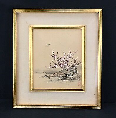 Original Antique Chinese Hand Painted Landscape Watercolor Signed & Red Stamped