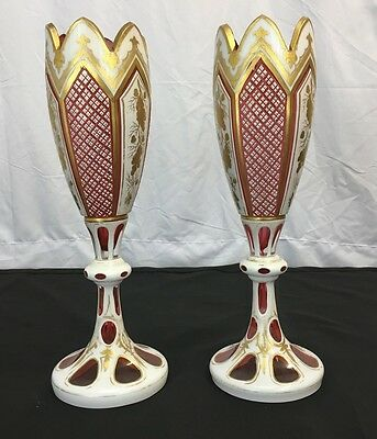 Lovely Pair Of Antique Bohemian Moser Vases With Fantastic Gold Works