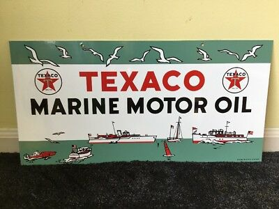 "Vintage Rare Nos Texaco Marine Motor Oil 22"" X 11"" Porcelain Metal Gasoline Sign"