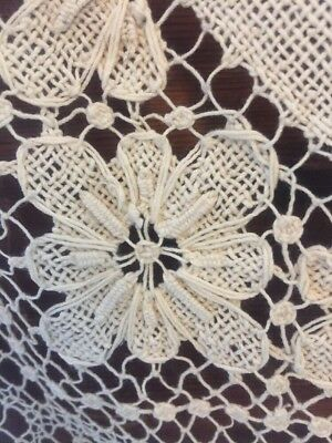 """1930s Hand Made Bobbin & Filet Lace Tablecloth 64"""" By 80"""" Large Rectangle WOW!"""