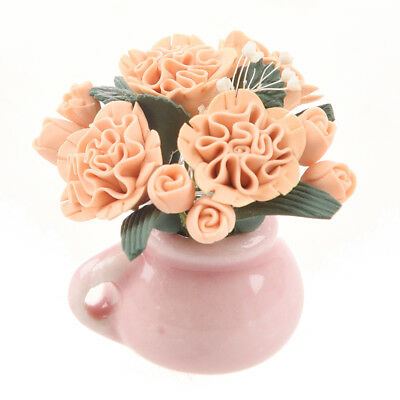 Mini pink carnation flower rose plant dollhouse ceramic glass for life cult Y8P7