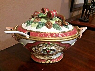 Fitz & Floyd ~ CHRISTMAS DEER TUREEN with LADLE ~ Hard to Find