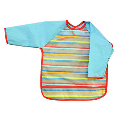 Waterproof feeding of Bib gown with long sleeves for baby toddler blue T5B5