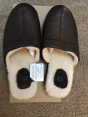 UGG Men's Colter Brown Leather Slipper Size 10 Brand New - Free Shipping
