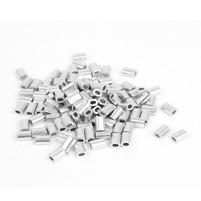 0.8mm 1/32-inch Wire Rope Aluminum Ferrules Sleeves Silver Tone 100pcs V2P3