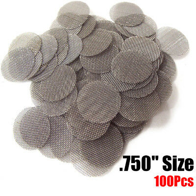 """100 PACK Stainless Steel Tobacco Pipe Screens - 3/4"""" .750"""" Size"""