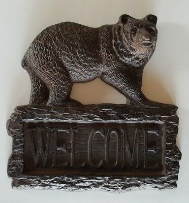 Bear Log Welcome Plaque House Sign Cast Iron Brown Lodge Hunter Nature Outdoors