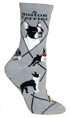 Boston Terrier Dog Breed Gray Lightweight Stretch Cotton Adult Socks