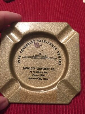 1956 Advertising Ash Tray Faircloth Chevrolet Johnson City Tennessee TN