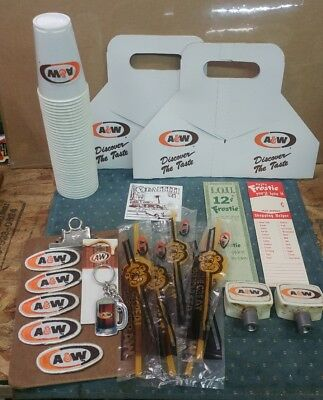 A&W Root Beer Lot of STUFF - Draft tops Straws Papers Cups Patches Key Chain.