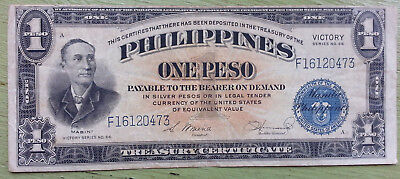 "1944 Philippines 1 Peso ""Victory"" banknote paper money World War 2 Pacific crisp"