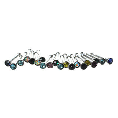 20pcs Colorful Stainless Steel Rhinestone Nose Studs Rings Bars Piercing T3G4