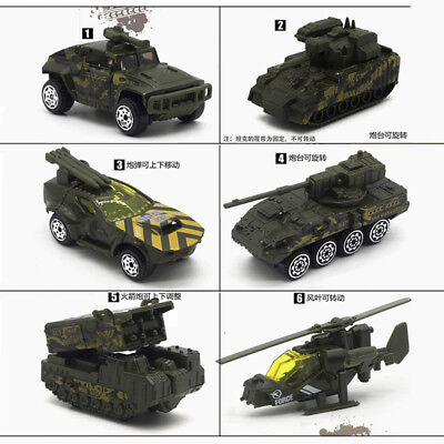 Set of 5 Military Vehicle Tank Armored Car Model Alloy Diecast Toy Green Gift