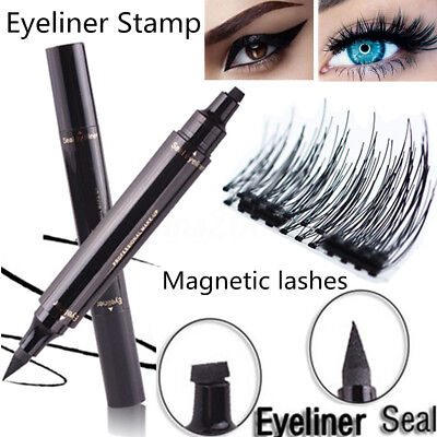 Winged Eyeliner Stamp Cat Eye & 4X Magnetique Faux Cils Extension Maquillage Set